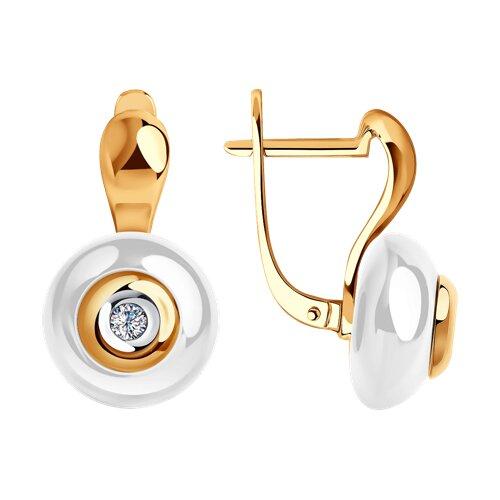 Серьги из золота с бриллиантами и белой керамикой (6025053) - фото