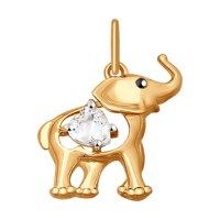 Золотая подвеска «Слоник» с фианитом