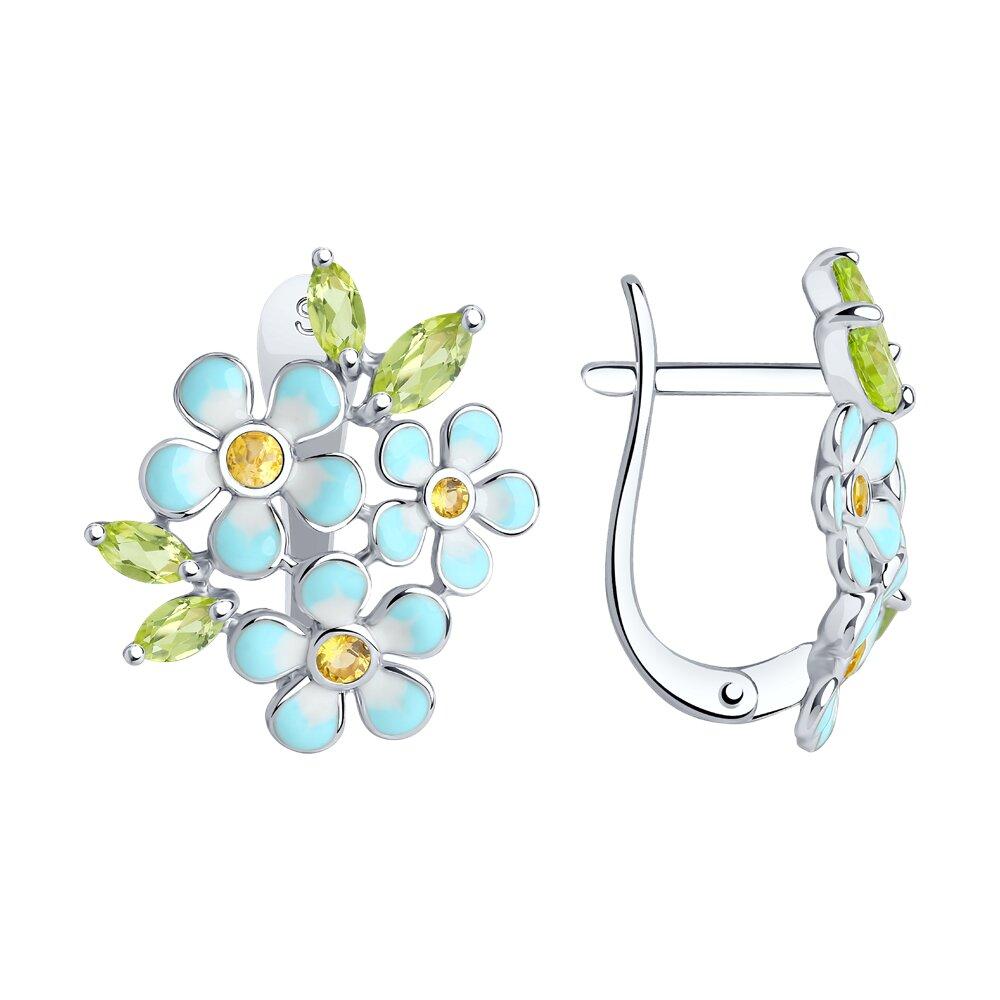 Серьги SOKOLOV из серебра с эмалью с хризолитами и жёлтыми фианитами серьги серебряный цветок с эмалью и хризолитами sokolov