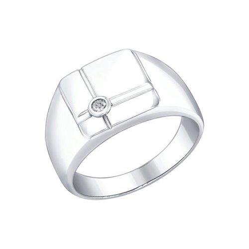 Печатка из серебра с фианитом (94010277) - фото