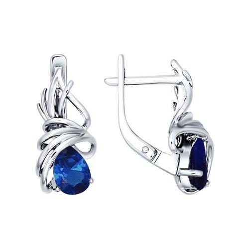 Серебряные серьги с синим фианитом SOKOLOV