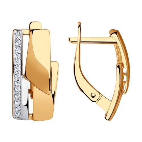 Серьги из золота с фианитами (028447) - фото