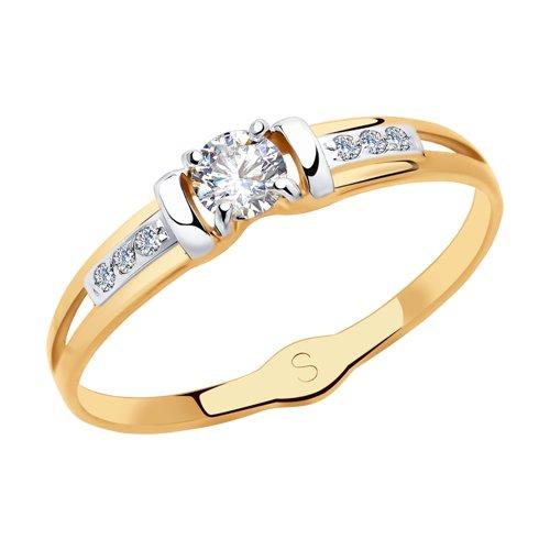 Кольцо из золота с фианитами (018114) - фото