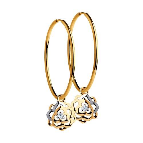 Серьги из золота с фианитами (8-020034) - фото