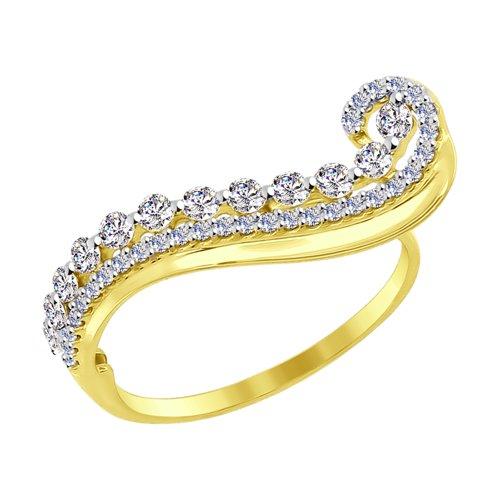 Кольцо из желтого золота с фианитами (017079-2) - фото
