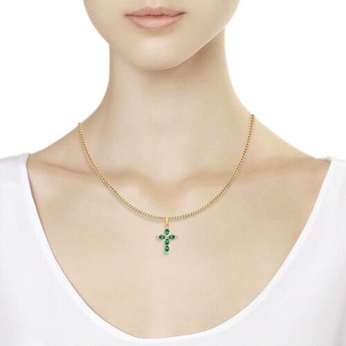 Крест из золота с зелеными фианитами (034775) - фото №4
