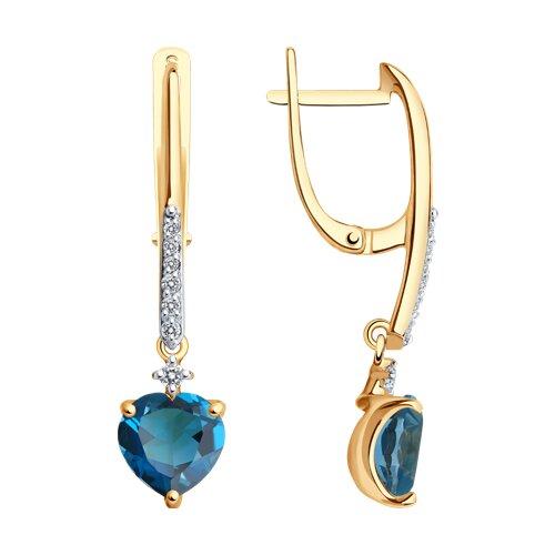 Серьги из золота с синими топазами и фианитами (725350) - фото