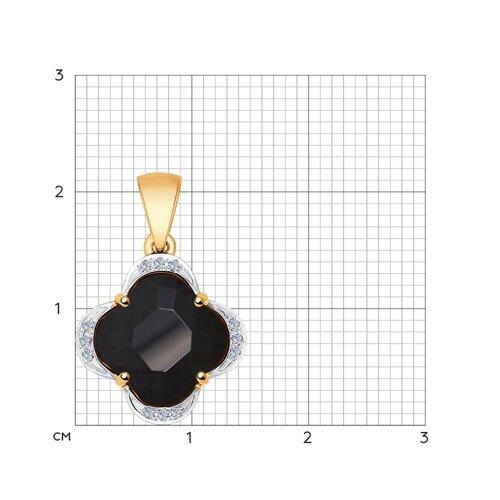 Подвеска из золота с бриллиантами и чёрной керамической вставкой (6035017) - фото №2