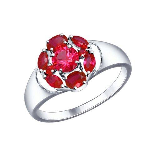 Кольцо из серебра с корундами рубиновыми (синт.)