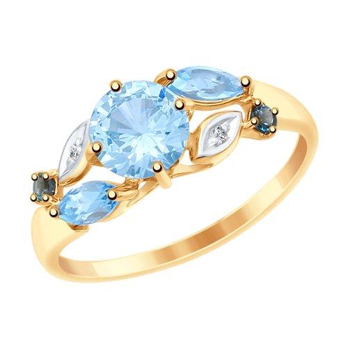 Кольцо из золота с голубыми и синими топазами и фианитами (715045) - фото