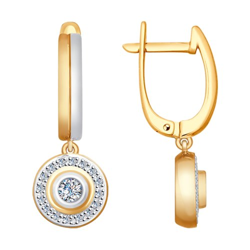 Серьги из золота с бриллиантами (1021186) - фото