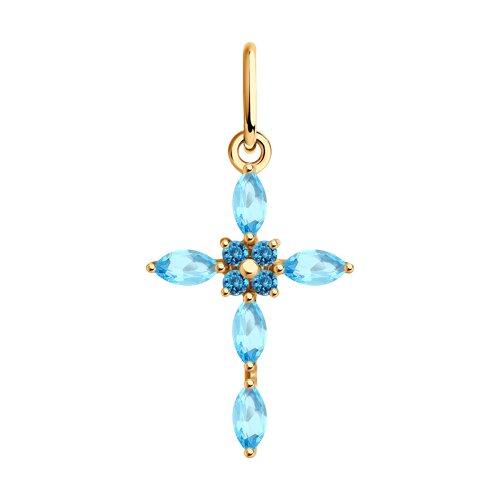 Крест из золота с топазами
