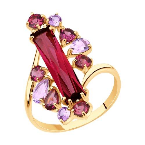 Кольцо из золота с миксом камней (716038) - фото