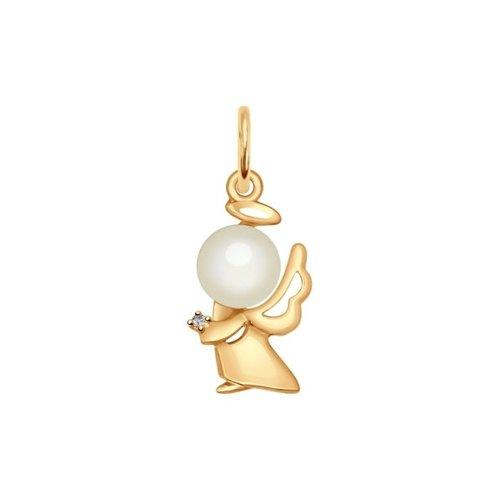 Подвеска «Ангел» из золота с жемчугом и фианитом
