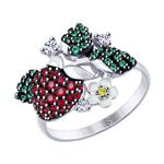 Серебряное кольцо «Земляника»