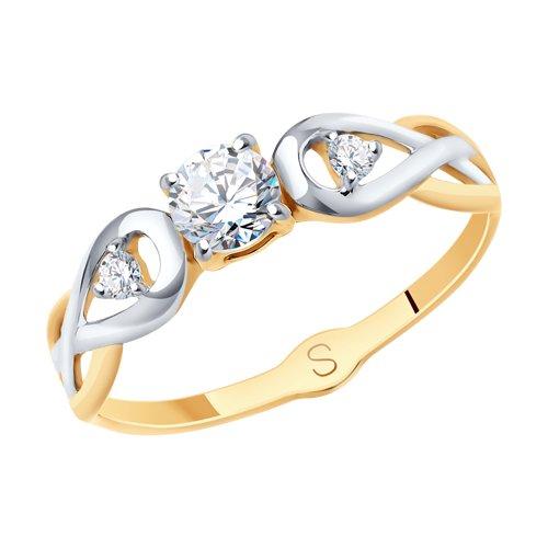 Кольцо из золота с фианитами (017875) - фото