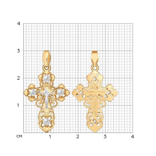 Крест из золота с фианитами (121284) - фото №2
