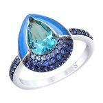 Кольцо из серебра с эмалью и синим ситаллом и фианитами