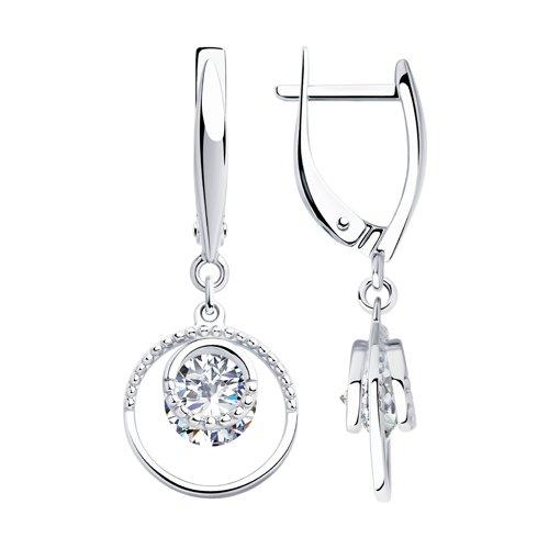 Серьги из серебра с фианитами (94023433) - фото
