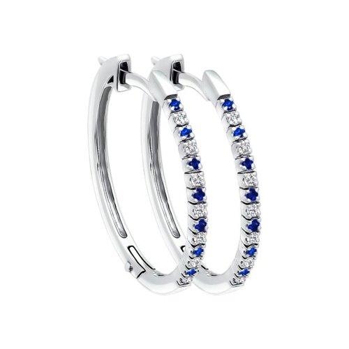 Серьги-кольца с бриллиантами и сапфирами SOKOLOV