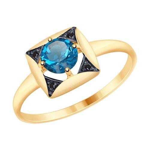 Кольцо из золота с синим топазом и чёрными фианитами (714935) - фото