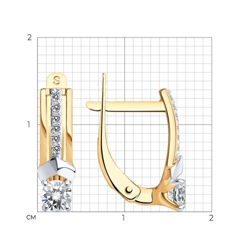 Серьги из золота с фианитами (027333) - фото №2