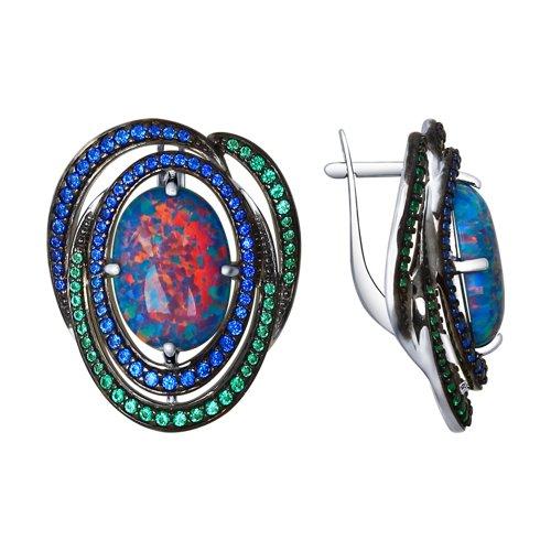 Серьги из серебра с синими опалами и зелеными и синими фианитами (83020043) - фото
