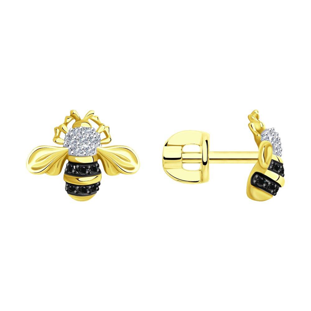 Фото - Серьги SOKOLOV из желтого золота с бриллиантами и черными облагороженными бриллиантами подвеска sokolov из желтого золота с бриллиантами и черными облагороженными бриллиантами