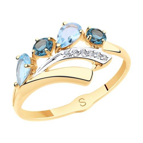 Кольцо из золота с голубыми и синими топазами и фианитами (715567) - фото