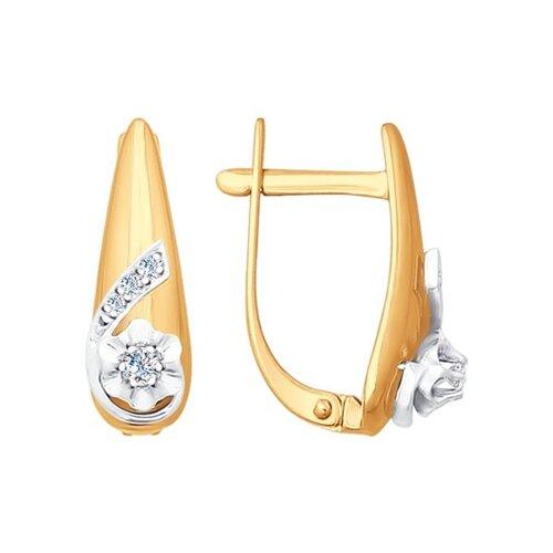 Серьги из комбинированного золота с бриллиантами (1020888) - фото