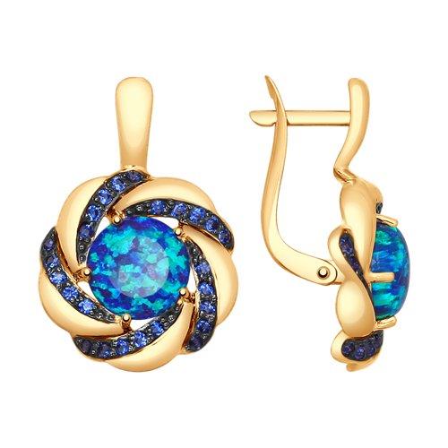 Серьги из золота с синими опалами и синими фианитами