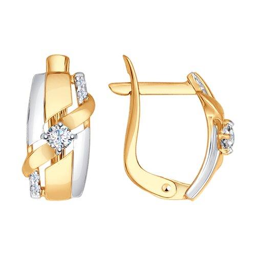 Серьги из золота с фианитами (027399-4) - фото