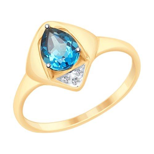 Кольцо из золота с синим топазом и фианитами (715253) - фото