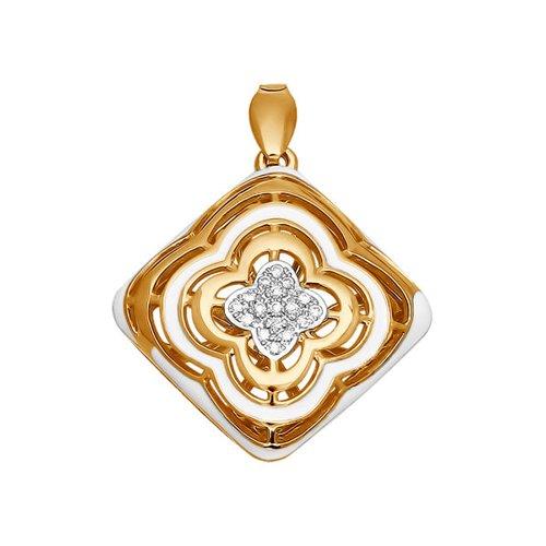 цены Золотая подвеска с белой эмалью и бриллиантами SOKOLOV