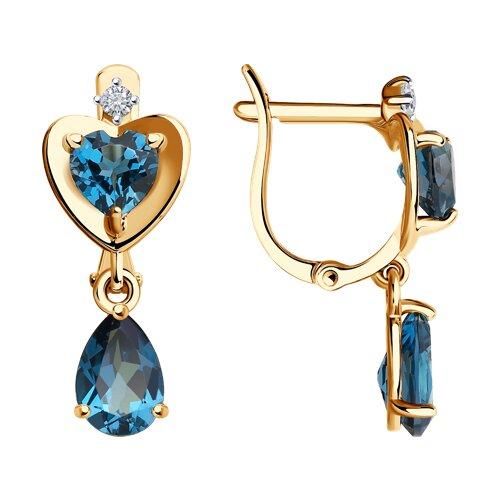 Серьги из золота с синими топазами и фианитами (725317) - фото