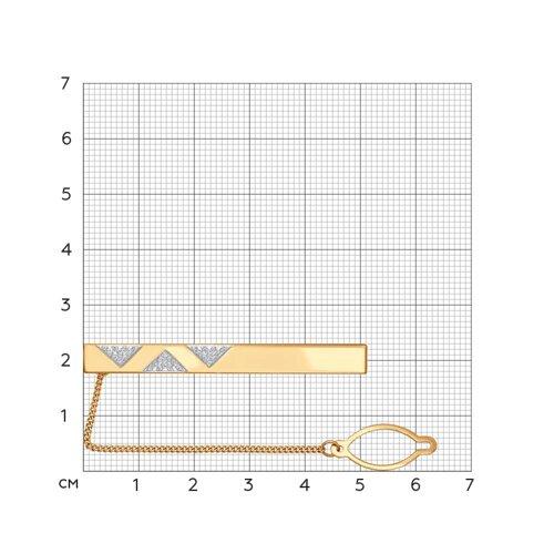 Зажим для галстука из красного золота (090044) - фото №2