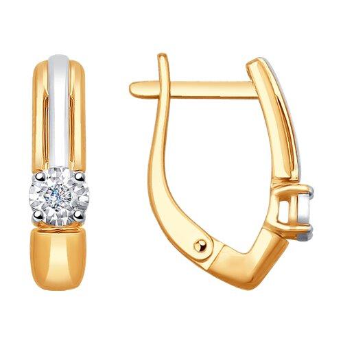 Серьги из комбинированного золота с бриллиантами (1021228) - фото