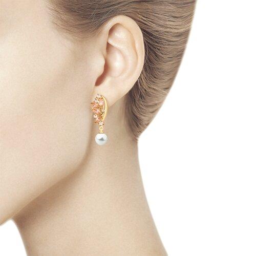 Серьги из золота с жемчугом и розовыми ситаллами (792131) - фото №2