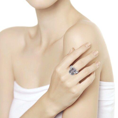 Кольцо из серебра с чёрным кристаллом Swarovski и фианитами (94011943) - фото №2