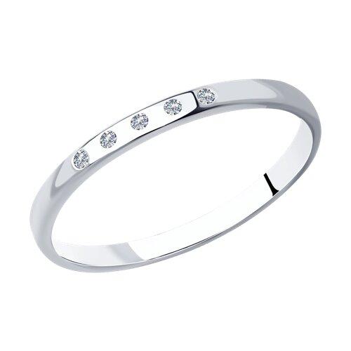 Классическое серебряное кольцо с фианитами (94012717) - фото