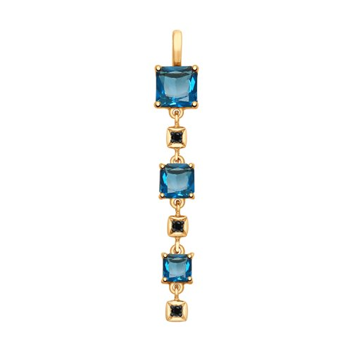 Подвеска из золота с синими топазами и фианитами
