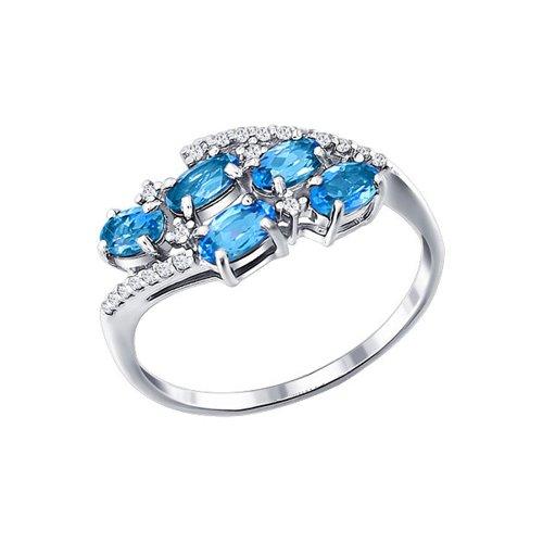 Восточное кольцо SOKOLOV из серебра с топазами и фианитами цена и фото