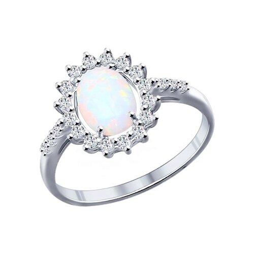 Кольцо из серебра с опалом и фианитами (94011765) - фото