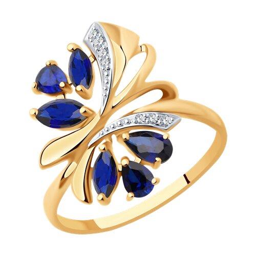 Кольцо из золота с синими корундами (синт.) и фианитами (37714739) - фото