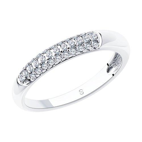 Кольцо из серебра с фианитами (94012664) - фото