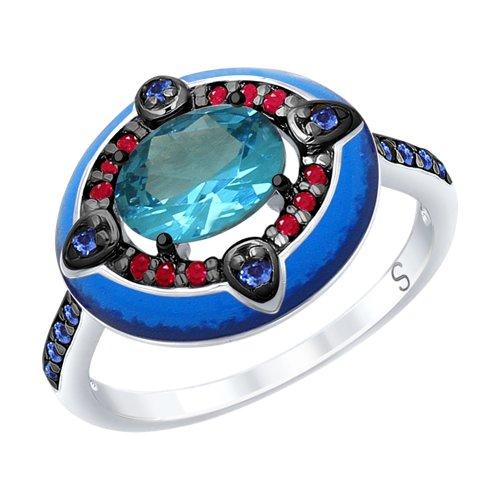 Кольцо из серебра с эмалью с синим ситаллом и красными и синими фианитами (92011699) - фото