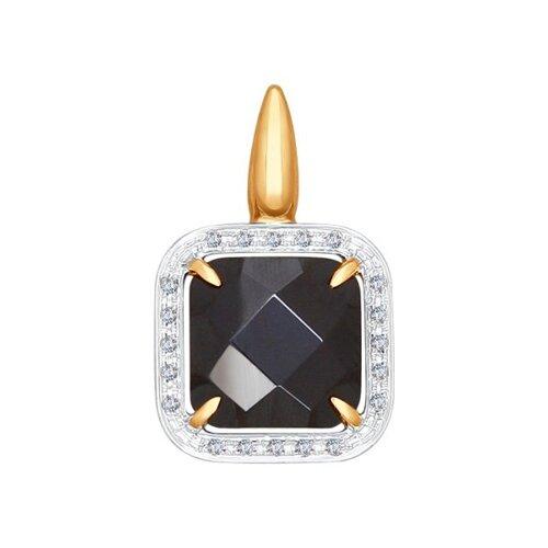 Подвеска из золота с бриллиантами и чёрной керамической вставкой