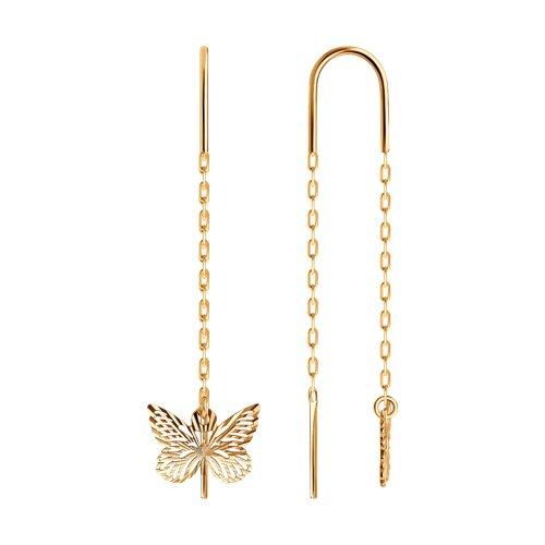 Женские серьги-продевки с бабочкой из золота