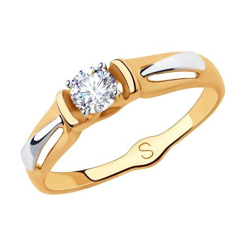 Кольцо из золота с фианитом (018289) - фото