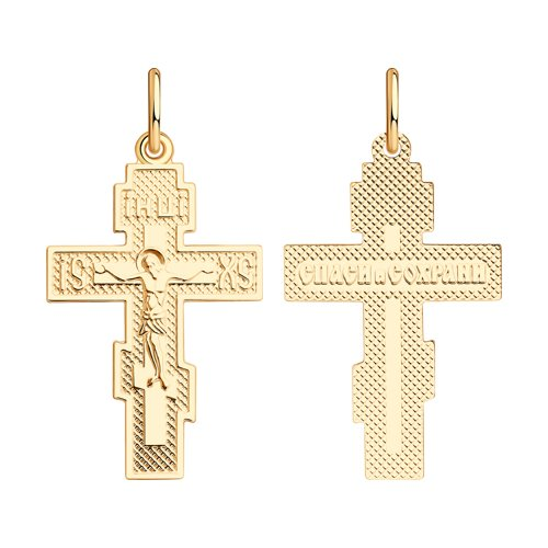 Крест из золочёного серебра (93120019) - фото